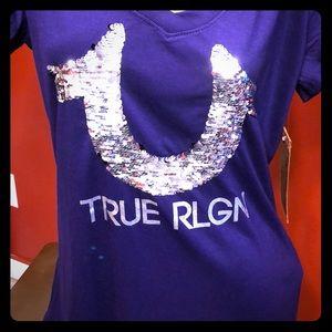 True religion Comment Pupple Sequin Hs Rnd V Tee